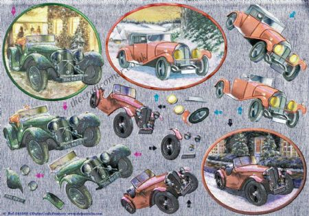 Vintage Cars In The Snow 3d Decoupage Sheet By Dufex